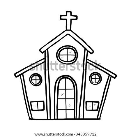 Church Cartoon Vector Illustration Black White Stock