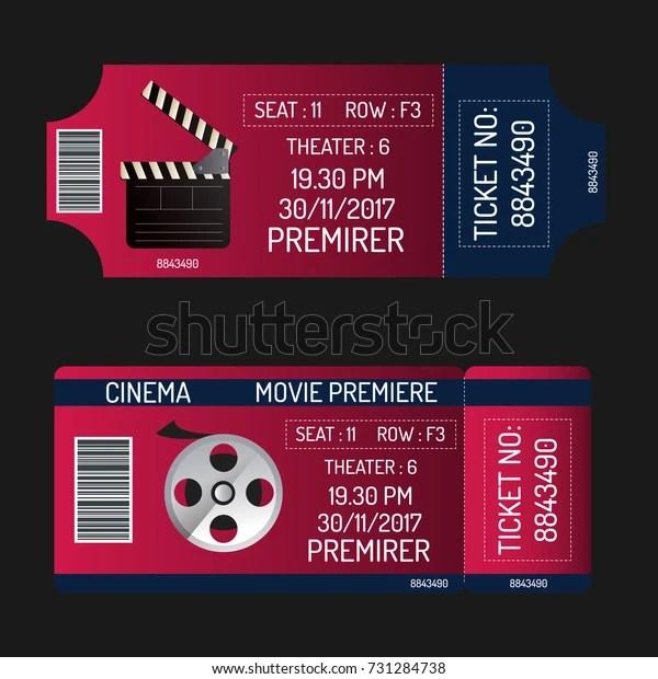 https www shutterstock com image vector cinema movie ticket tamplate invitation event 731284738
