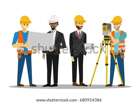 Civil Engineer Discussion Architects Reading Instructions Stock Vector Royalty Free 680954386