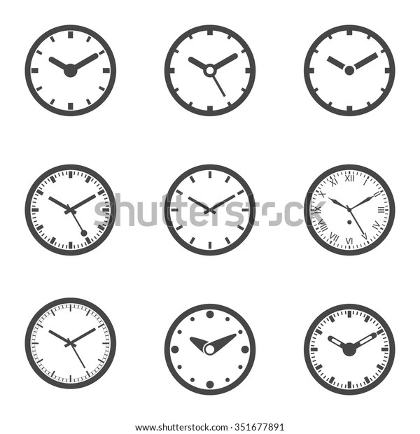 Clock Icon Set Outline Isolated Vector Stock Vector (Royalty Free) 351677891