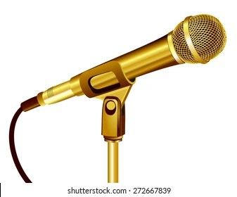 gold microphone images stock