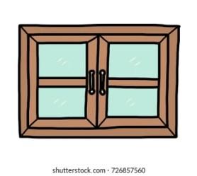cartoon closed window wooden vector windows hand isolated shutters shutterstock open drawn 3d