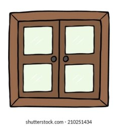 cartoon window windows closed wooden hand vector open shutterstock royalty vectors drawn isolated