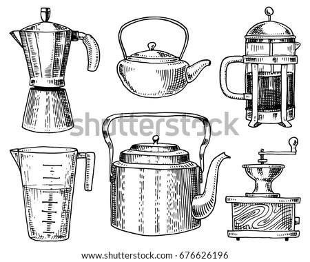 Coffee Maker Grinder French Press Measuring Vector de