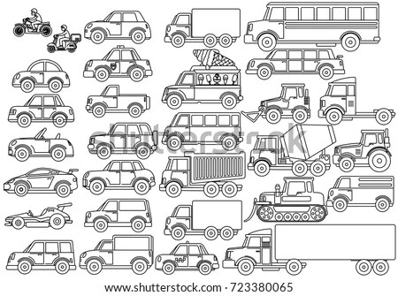 Collection Cartoon Transport Icons Car Bus Stock Vector