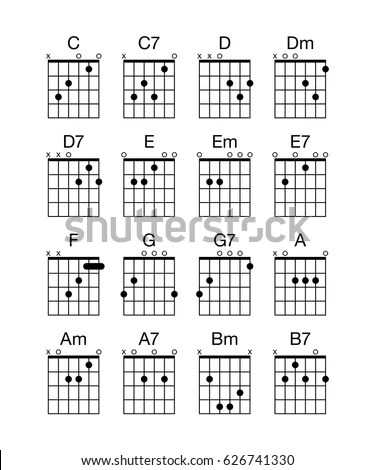Collection Group Set Vector Guitar Chords stockvector