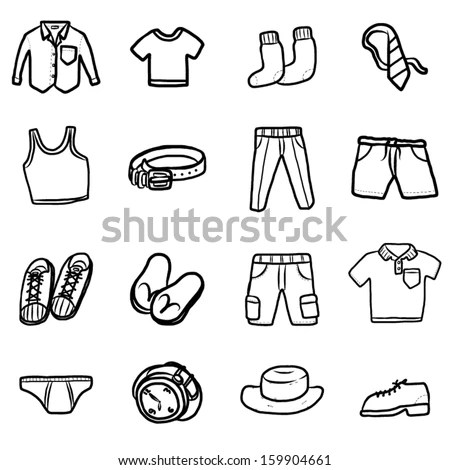 Collection Men Clothes Fashion Cartoon Vector Stock Vector