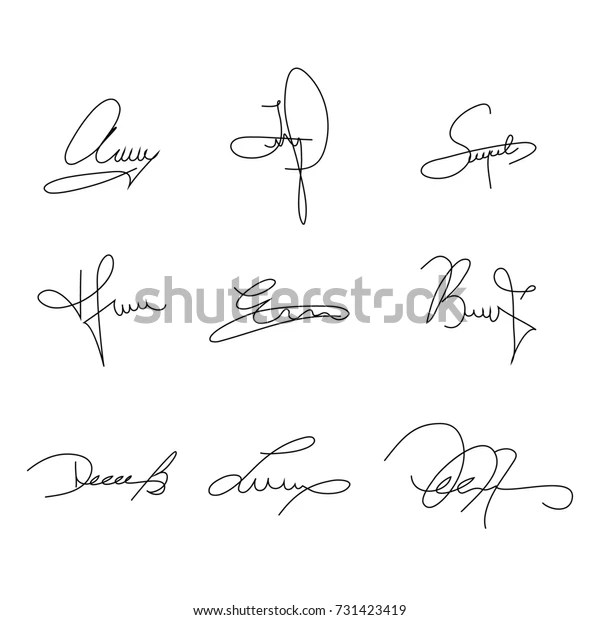 Collection Signature Samples Use Your Design Stock Vector