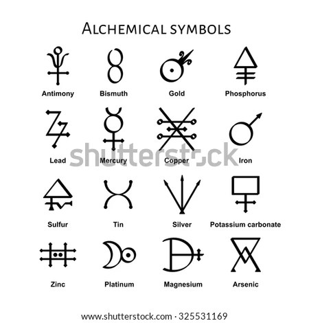 Collection Various Alchemical Symbols Vector Illustration