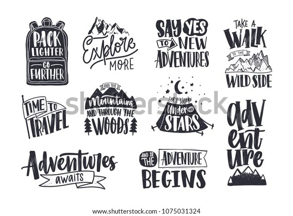 Collection Written Phrases Slogans Quotes Decorated Stock