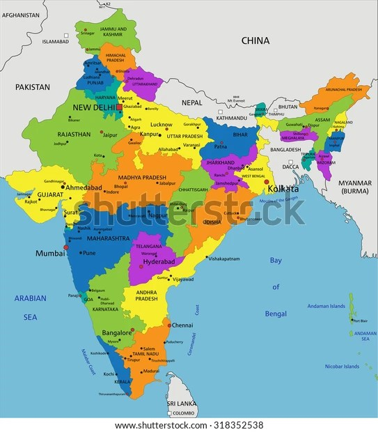 colorful india political map