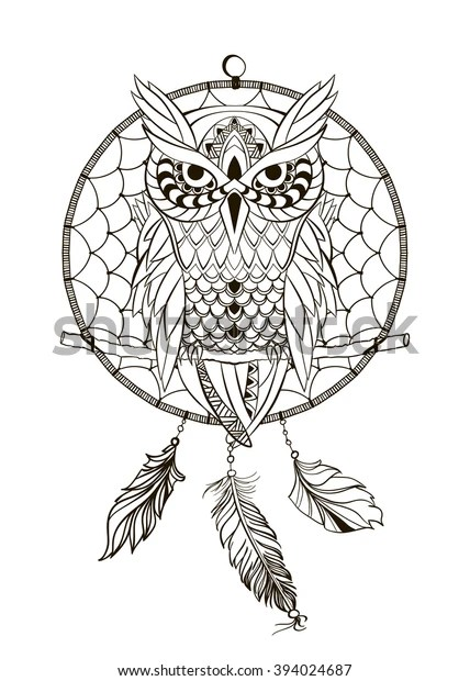 Coloring Book Adult Dream Catcher Owl Stock Vector