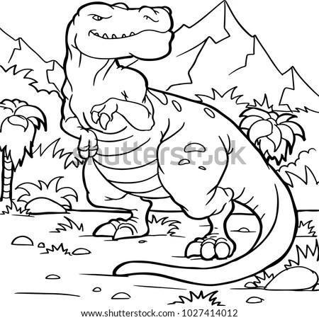 Coloring Book Children Dinosaur Handpainted Cartoon Stock