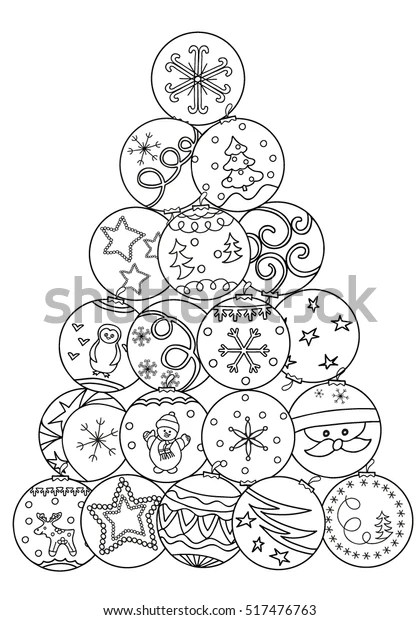 Coloring Book Decorative Christmas Tree Balls Stock Vector