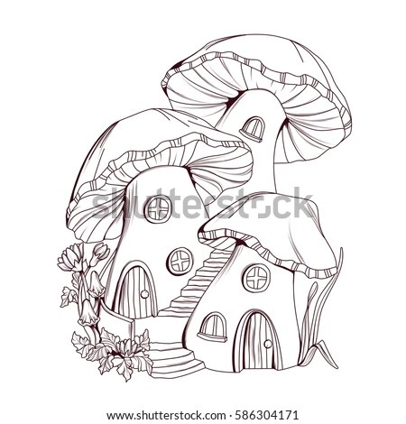 Coloring Book Mushroom Houses Fairy Tale Stock Vector