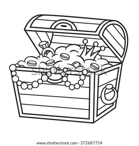 Coloring Book Treasure Chest Full Gold Stock Vector