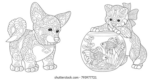 Adult Colouring Pages Dog Images Stock Photos Vectors Shutterstock