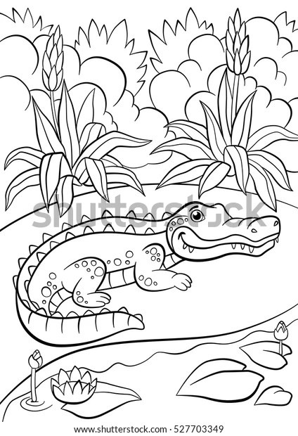 Coloring Page Animals Little Cute Alligator Stock Vector
