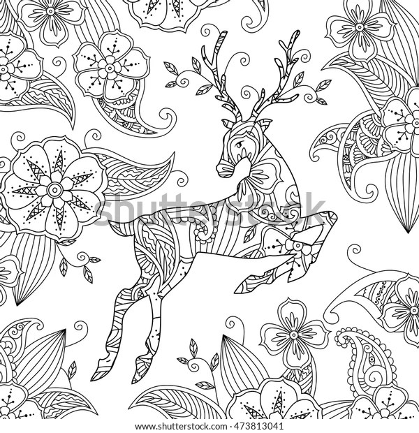 Coloring Page Beautiful Running Deer Floral Stock Vector