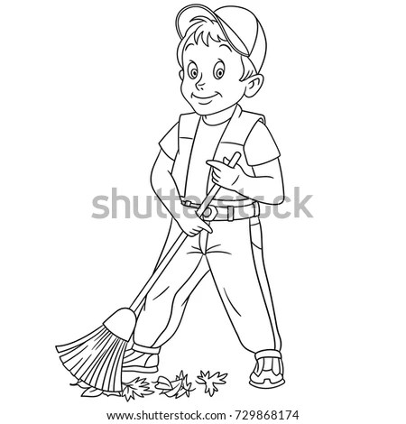 Coloring Page Cartoon Street Cleaner Sweeper Stock Vector