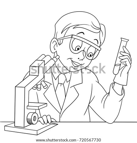 Coloring Page Chemical Scientist Test Tube Stock