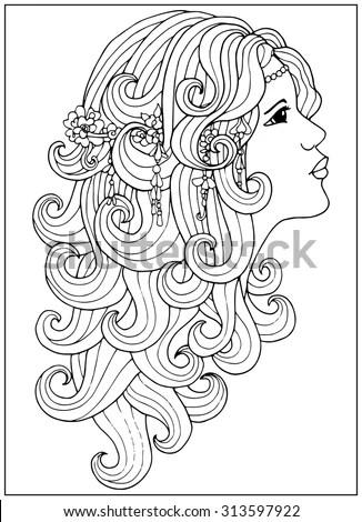 Coloring Page Girl Long Curly Hair Stock Vector (Royalty