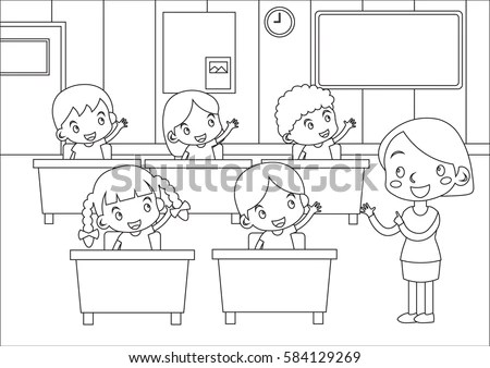 Coloring Page Kids Students Teacher Participating Stock