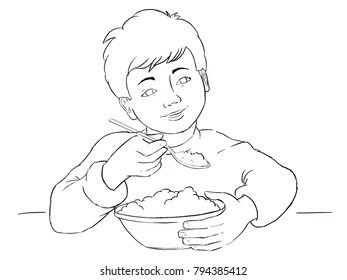 Boy Eating Breakfast Drawing Images, Stock Photos