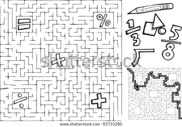 Coloring Page Math Maze Interchangeable Symbols Stock