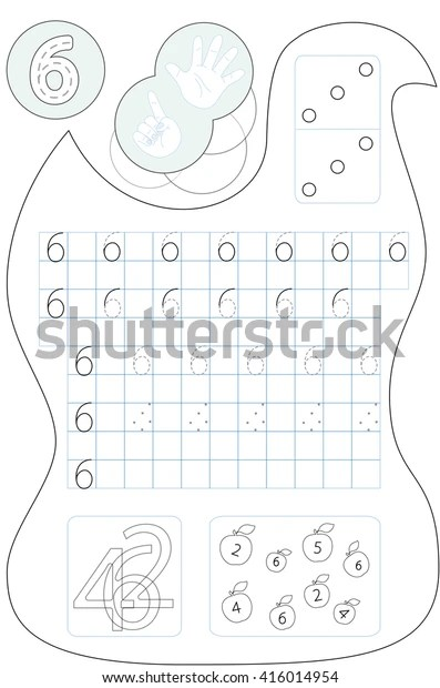 Coloring Page Number Six Printable Worksheet Stock Vector
