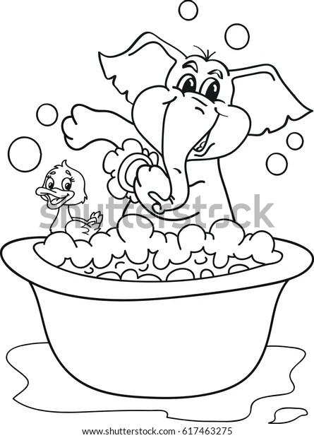 Coloring Page Outline Cartoon Baby Elephant Stock Vector