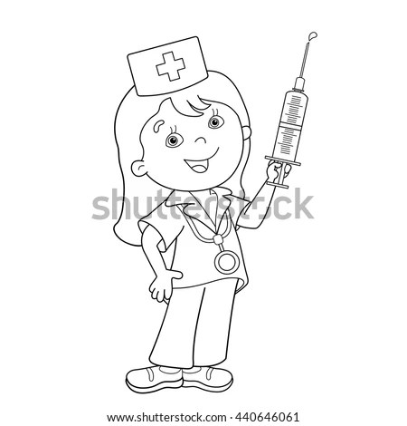 Coloring Page Outline Cartoon Doctor Syringe Stock Vector