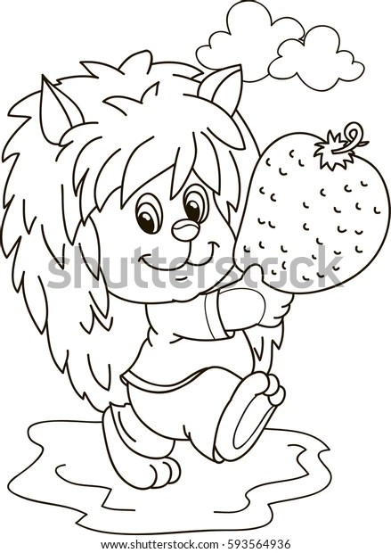 Coloring Page Outline Cartoon Hedgehog Strawberry Stock