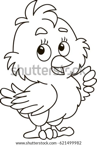 Coloring Page Outline Cartoon Little Chick Stock Vector