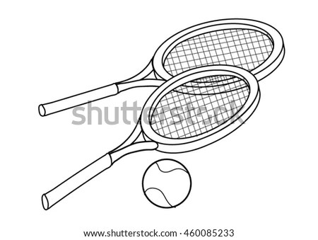 Coloring Page Tennis Rackets Ball Stock Vector (Royalty