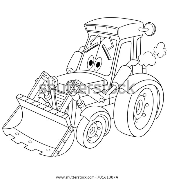 Coloring Page Tractor Bulldozer Cartoon Vehicle Stock