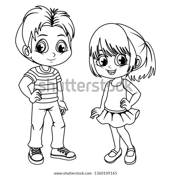 Coloring Pages Cute Cartoon Boy Girl Stock Vector (Royalty