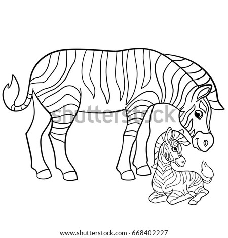 Coloring Pages Mother Zebra Her Little Stock Vector