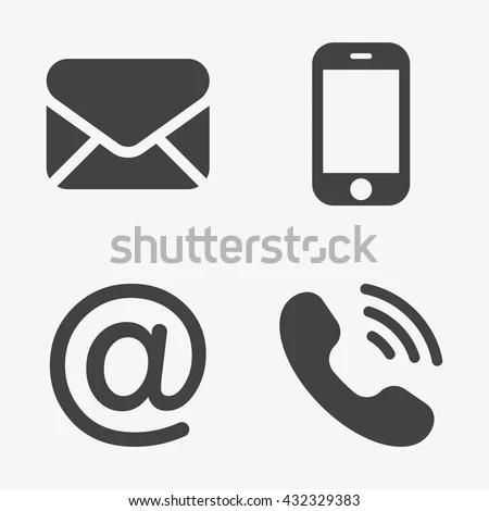 Communication Icons Smartphone Envelope Phone Email Stock