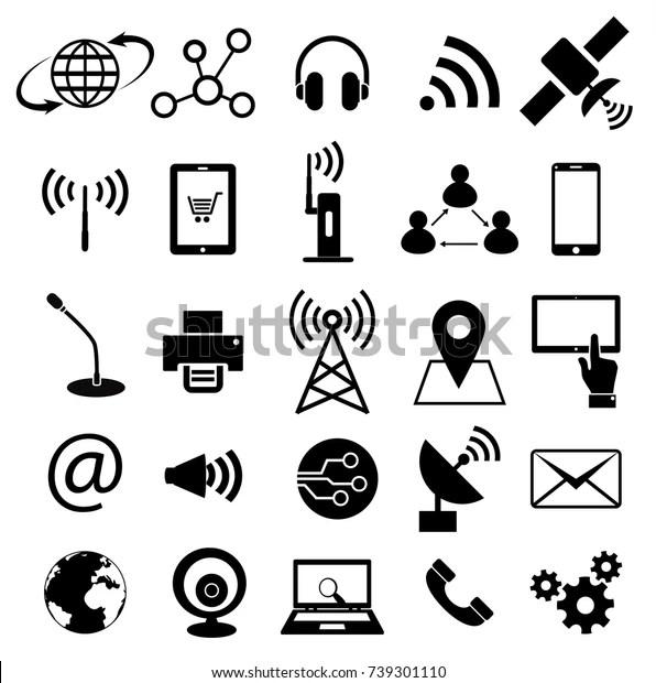 Communication Technology Icon Set Vector Stock Vector