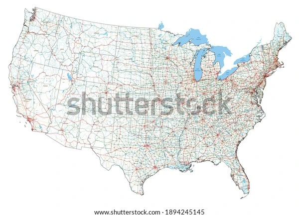 This map contains al this road networks with road numbers. Vektor Stok Complex Usa Road Map Interstates Us Tanpa Royalti 1894245145