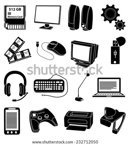 Computer Input Output Devices Icons Set Stock Vector