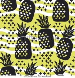 pineapple seamless pattern concept silhouette summer luxury vector repeatable motif tropical surface fabric