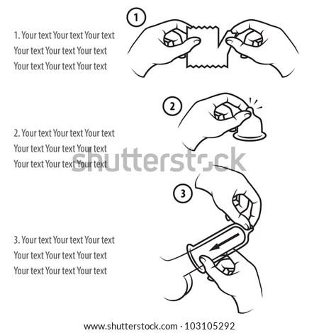 Condom Use Instruction เวกเตอร์สต็อก (ปลอดค่าลิขสิทธิ์