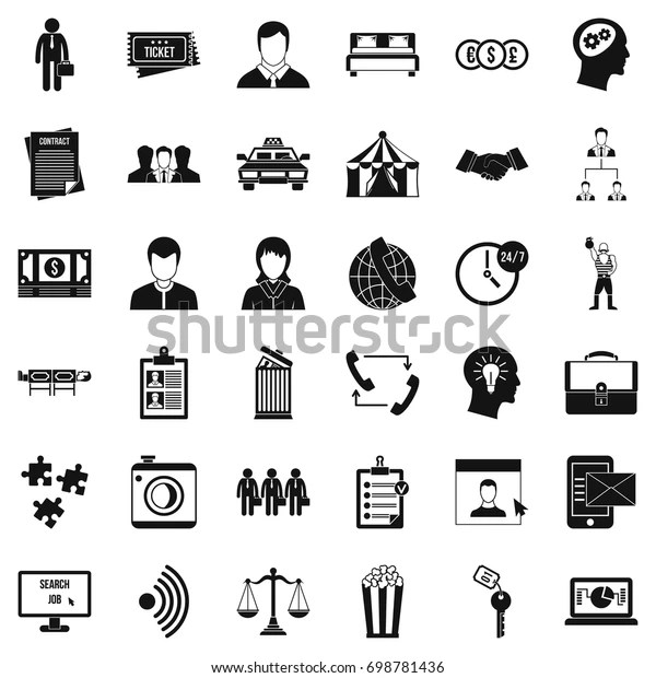 Conformity Work Icons Set Simple Style Stock Vector
