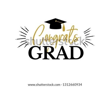 Congrats Graduates Class 2019 Gold Black Stock Vector