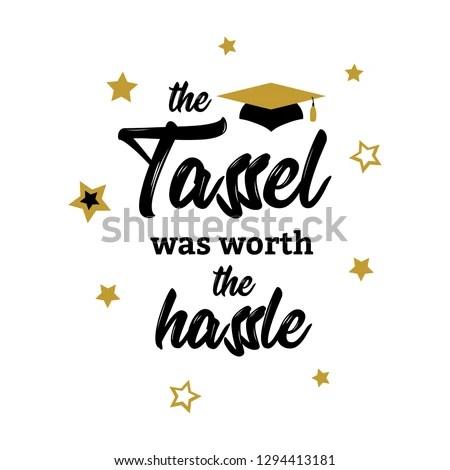 Congrats Graduates Class 2019 Lettering Tassel Stock