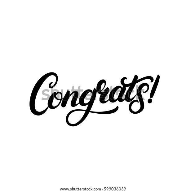 Congrats Hand Written Lettering Congratulations Card Stock
