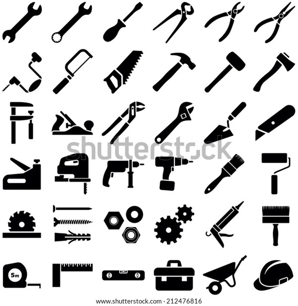 Construction Tool Icon Collection Vector Illustration