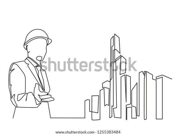 Continuous Line Drawing Engineer Building Construction